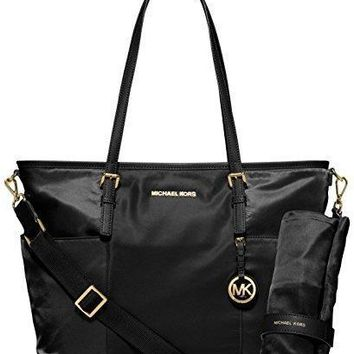 Michael Kors Jet Set Large Nylon Pocket Baby Diaper Bag (Black)