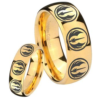 Bride and Groom Multi Jedi Star Wars Dome Gold Tungsten Men's Engagement Ring Set
