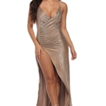 Ayanna Taupe Glitter Social Dress