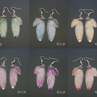 Fairy wing earrings. Glitter jewelry. Available in six colours