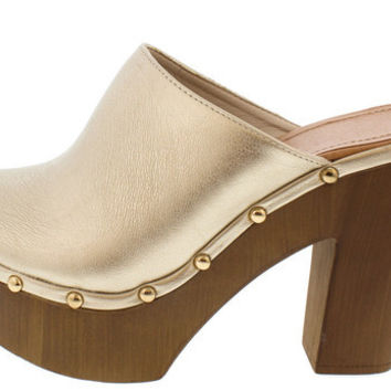 EMILY GOLD STUDDED WOOD CLOG HEEL