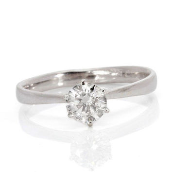 Diamond Engagement Ring, Solitaire 14K White Gold Ring, 0.40 Carat , Women Jewelry, Unique Ring, Present, Size 7