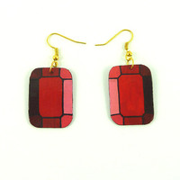 CD recycled Earrings : Stylized rectangular red gems - by Savousepate