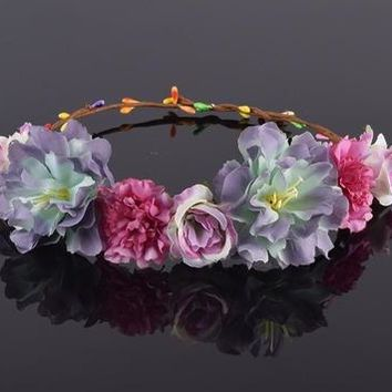 Rose Carnations Peony Flower Halo Bridal Floral Crown Hair Band Wreath Mint Head Wreath Wedding Headpiece Bridesmaid