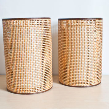Mid Century Rattan Fiberglass Lampshades, Pendant Lights, Retro Wicker Double Lamp Shade