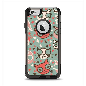 The Vector Cat Faced Collage Apple iPhone 6 Otterbox Commuter Case Skin Set