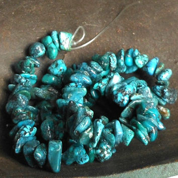 Turquoise Stone  Chip Beads, Turquoise Blue, Center Drilled,  Nuggets, 1 Strand Beads