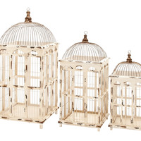 Harvey & Haley Metal Bird Cage Bright White Finish - Set of 3