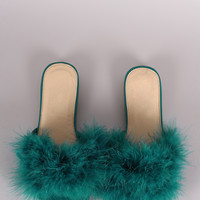 Fur Open Toe Slide Sandal