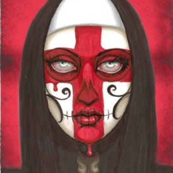 Day of the Dead red cross nun 6x9 stretched canvas