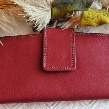 Large Red Vegan Leather Foldover Tab Wallet Checkbook