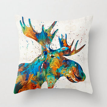 Throw Pillow Cover Colorful Moose Art Design Home Sofa Bed Chair Couch Decor Artsy Decorating Cabin Living Room Bedroom Colorado Midwest