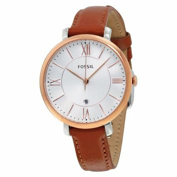Fossil Womens ES3842 Gold Case with Brown Leather Strap Watch