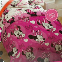 Disney Minnie Mouse Twin Comforter Pink Purple Reversible New