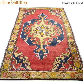 ON SALE Vintage Turkish Oushak Rug With Medallion 93 x 53 inches Free Shipping