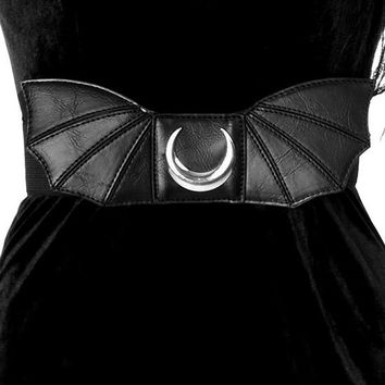Moon Bat Wings Belt Goth Nugoth Black Wide Elastic Belt with Bat Wings & Moon