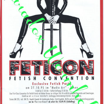 Vintage 90's 1995 Feticon Fetish Convention Exclusive Fetish Party Print Ad Advertising Wall Art Decor Sexy Man Cave