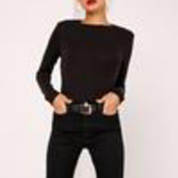 Missguided - Crew Neck Ribbed Top Black