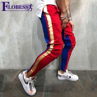Plus Size Men Jogger Sports Pants New 2018 Male Leisure  Fitness Running Skinny Long Trousers Mens Striped Pencil Pants