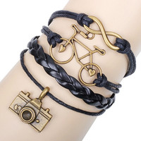 Leather Charm Bracelet Friendship Love Couple Many Styles