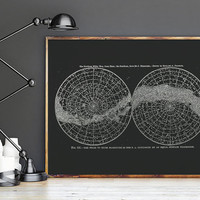 Northern and Southern Hemisphere - PRINTABLE FILE. Andromeda Galaxy Milky Way Print. Solar System Poster. Celestial Star Chart.