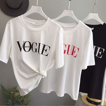 Spring and summer new men and women tide brand fashion VOGUE letters printed short-sleeved T-shirt