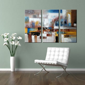 Triptych Abstract Wall Art, 3 Piece Wall Art, Office Wall Art, Original  Abstract