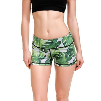 JIGERJOGER 2018 Summer YOGA SHORTS green tropical forest palm leaves print fast dry Spandex Fabric Beach Exercise Workout Shorts