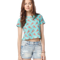 Aeropostale  Womens Lobster Crop Graphic T-Shirt - Blue
