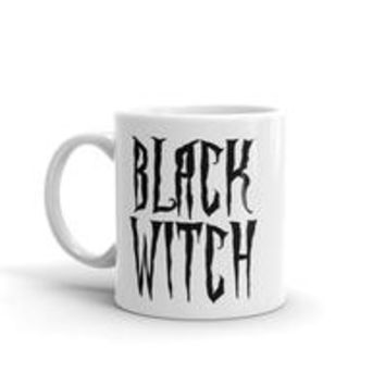 Black witch coffee mug, black and white magical font, goth style