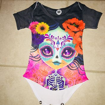 Dia de Los Muertos Onesuit for Baby - Mexican Sugar Skull /Black