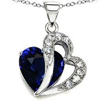 Star K 12mm Created Blue Sapphire Double Heart Pendant Chain