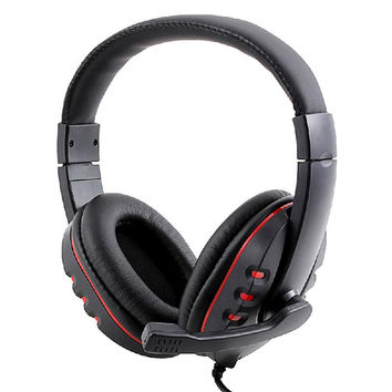 Headset Gamer Gaming Headset USB 2.0 Leather Computer Headphones with Microphone 2m for Sony PC Headset Luxury Headphones Black