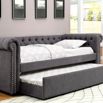2 pc Leanna collection gray tufted linen like fabric upholstered day bed and pull out trundle