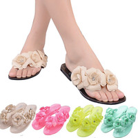 ≫∙∙ Summer Jelly Shoes with Flower Flip Flops Flat Heel Style  ∙∙≪