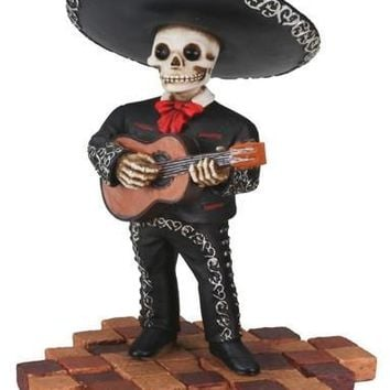 Mariachi Band Guitar Player Statue, Day of the Dead 4.75H