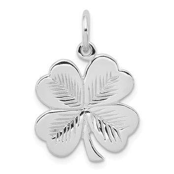 925 Sterling Silver Rhodium Plated Polished, Textured 4 Leaf Clover Shaped Pendant