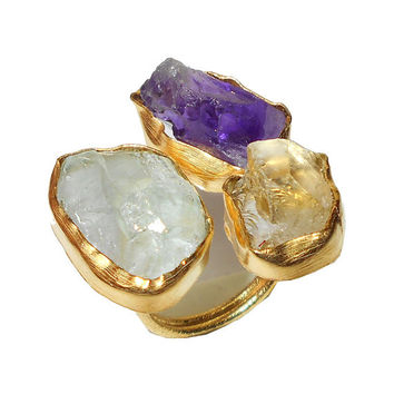 Aquamarine Ring - Raw Gemstone Ring - Amethyst Ring - Handmade Ring- Citrine Ring- Gift Ring - Natural Stone Ring, Gold Ring - Cocktail Ring