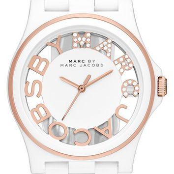 Women's MARC BY MARC JACOBS Skeleton Dial Resin Bracelet Watch, 41mm - White/ Rose Gold (Nordstrom Exclusive)