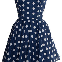 Pin-Up Blue Polka Dot Prom Party Dress | Style Icon`s Closet
