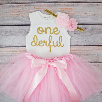 One-derful First birthday outfit girl 1st birthday girl outfit Baby girl first birthday outfit Onederful Sleeveless Tank Top