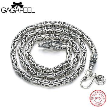 GAGAFEEL Classic Necklace Genuine 925 Sterling-Silver-Jewelry Cool Punk Necklaces Chains For Domineer Men Gift For Father's Day