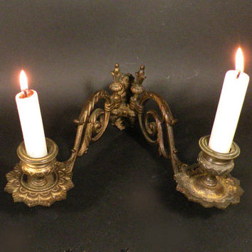 French vintage piano candle holders, wall sconce. antique french. chateau chic, shabby chic, candle holder, candelabra
