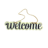 "Vintage Style Hanging Metal ""Welcome"" Sign, Black/Off-White, 8-Inch x 1-3/4-Inch"
