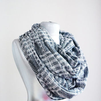 Handmade Honey Comb Infinity Scarf - Thick Cotton Jersey - Navy Blue White Gray - Winter Autumn Scarf - Men Unisex Scarf