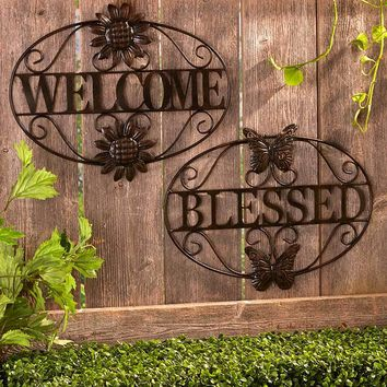 Metal Wall Art Bronze Finish Indoor/Outdoor Home or Blessed Durable Embellished