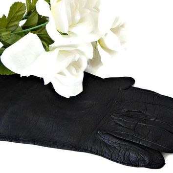 Black Kid Leather Gloves Aris of Paris Classic Length Size 6.5 Made in France
