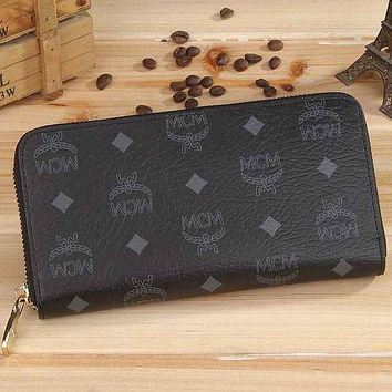 MCM Fashion Print Leather Zipper Purse Wallet For Women Black