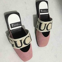 GUCCI summer new letter leather baotou slippers pink