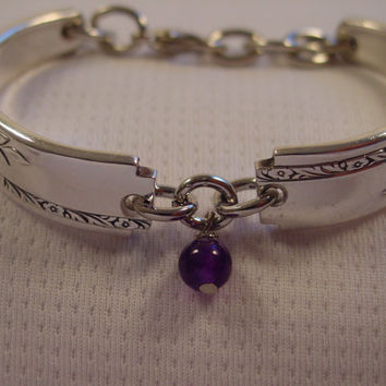 A Grenoble Pattern SMALL Spoon Bracelet With Purple Bead Handmade Fork and Spoon Jewelry b96